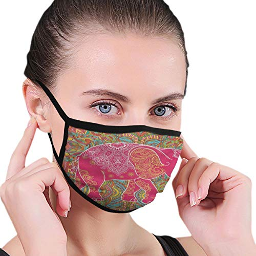 Funny Mouth Cover Dustproof Washable Reusable Indian Elephant Floral Print Stylish Respirator Protective Safety Warm Windproof for Women Men