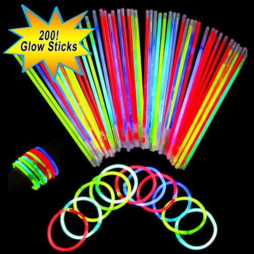 Neon Light Up Glow Sticks Bright Glo Lite Stix 8'' Bracelet Necklace Favors 200 Pcs -