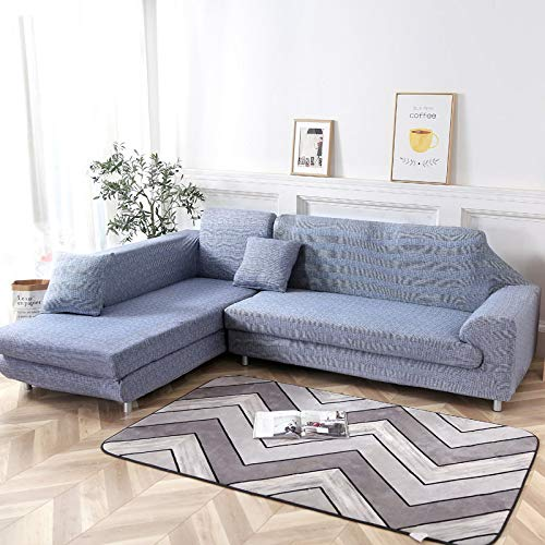 cjc Universal Sofa Covers for L Shape, 2pcs Polyester Fabric Stretch Slipcovers + 2pcs Pillow Covers for Sectional Sofa L-Shape Couch (Denim Blue)