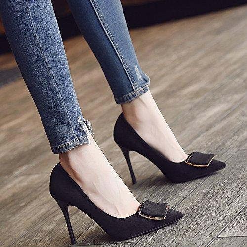 Xue Qiqi Satin Schuhe Schuhe Schuhe mit ultra-dünne Frau mit Licht - Matt wilde einzelne Schuhe schwarz Arbeitsschuhe 37 zu fangen Gelb [6] e93e6b