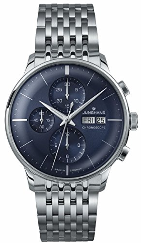 Junghans Watch Meister Chronoscope Sunray Blue Dial Day Date Steel Bracelet 027/4528.45