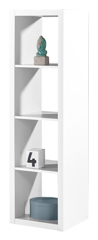 Regal Raumteiler Raumtrenner Standregal SONJA 3   Weiß Dekor   4 Fächer   B H L  41x147x38 cm