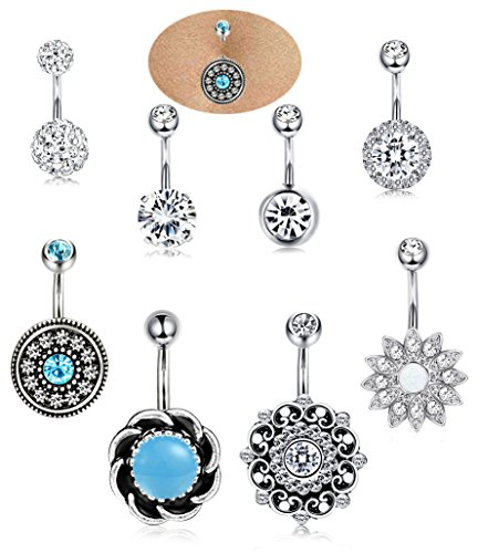 ORAZIO 3-4Pcs 14G Stainless Steel Belly Button Rings Cubic Zirconia Navel Bars Body Piercing (E:8pcs)