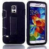S5 Case, Lantier Hybrid Tuff Combo Rugged Rubber Matte Hard Case [Anti-Slip] [Kickstand Function] Ultra Slim For Samsung Galaxy S5 Galaxy SV GS5 i9600 Black-Black