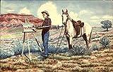 Painting by L.H. Dude Larsen Cowboy Western Original Vintage Postcard Picture
