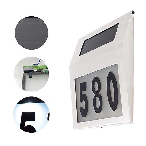 ZQYR Plaque# Solar LED de Acero Inoxidable número de casa 2 ...