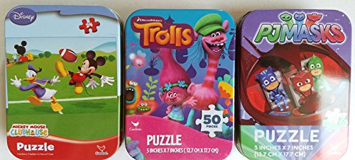 3 Collectible Girls/Boys Mini Jigsaw Puzzles in Travel Tin Cases: Disney Kids Mickey Mouse Clubhouse, PJ Masks, Trolls Gift Set Bundle (24/50 Pieces) ()
