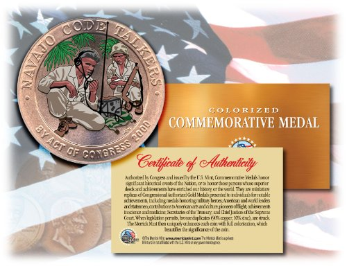 Colorized NAVAJO CODE TALKERS *Commemorative Medal* Bronze Coin US Marines WWII Bronze Medal Us Mint