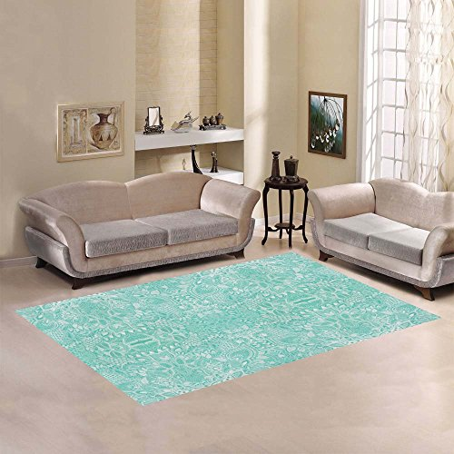 Love Nature Sweet Home Modern Collection Custom Deckchair mint and white paisley Area Rug 7'x5' Indoor Soft Carpet (Mint Rug)