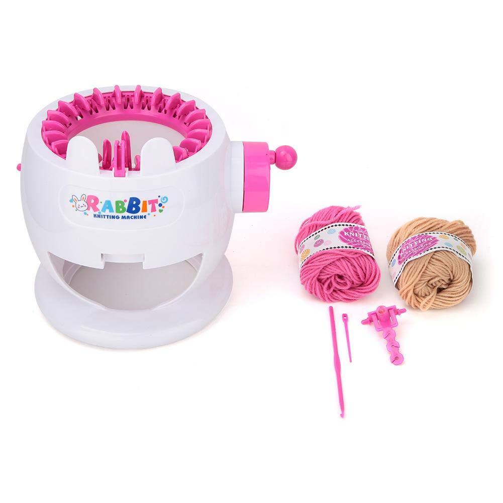 Hand Knitting Machine 22 Needles DIY Weaving Looms Adult Children Knitting Machine Kit Rabbit Appearance Hand Shake Round Kit Machine with Counting Circle Function
