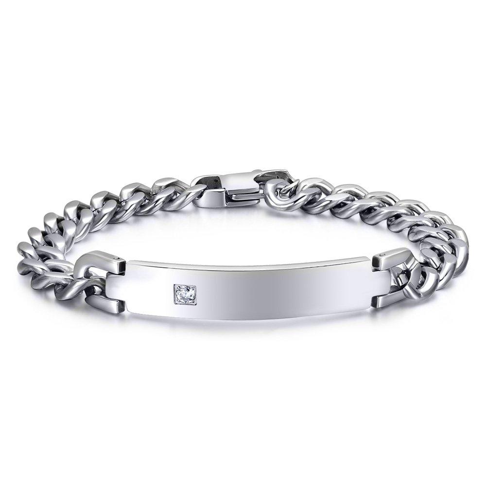 Free-Engraving Personalized Tag CZ Cubic Zircon Cube Chain I.D. Identification Bracelets for Men Women