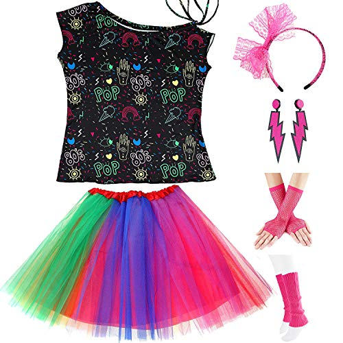 Womens 80s Accessories, I Love The 80's / 80s Pop/Sexy Lips Shoulder T-Shirt Outfit/Tutu Skirt/Neon Fanny Packs for 1980s Party Costume,S2,Pop,XL