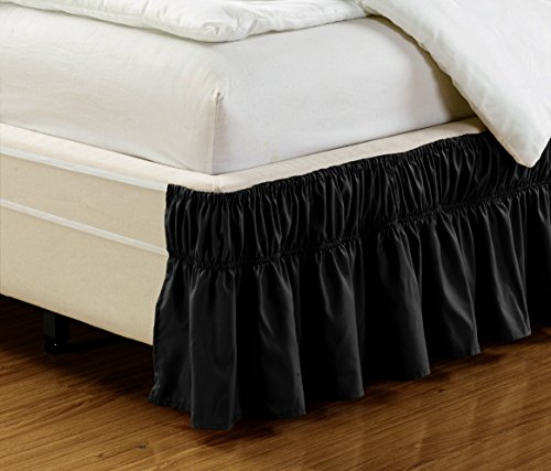 Wrap Around BLACK Ruffled Elastic Solid Bed Skirt Fits both TWIN and FULL size bedding High Thread Count 14 inch fall Microfiber Dust Ruffle, Silky Soft & Wrinkle Free.