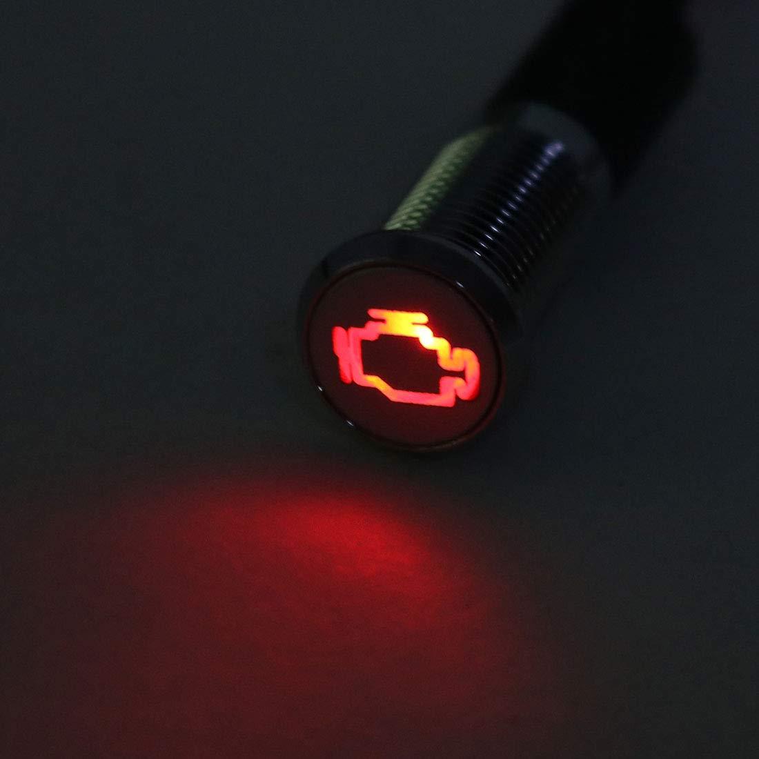 sourcing map Se/ñal Indicador Luz DC 12V 8mm LED Rojo Met/álica Carcasa con S/ímbolo Fallo Motor