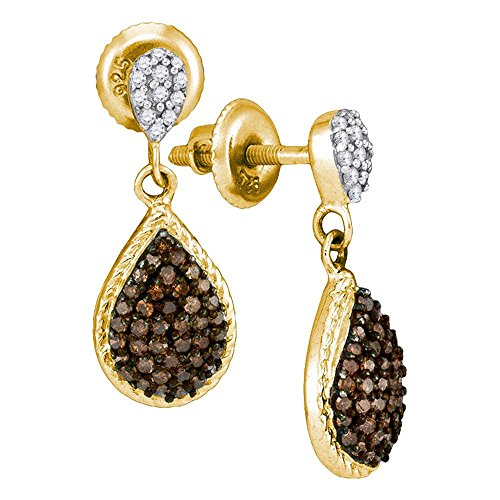 10k Yellow Gold Brown Diamond Teardrop Dangle Earrings Pear Drops Hanging Style Chocolate Fancy 1/2 Cttw ()