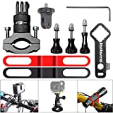 8in1 Aluminum Alloy 360° Roatary Action Camera Bike Motorcycle Handlebar Clamp Mount Kit Motion Sports Camcorder BMX Bicycle Seatpost Pole Holder Compatible with GoPro Sony Akaso