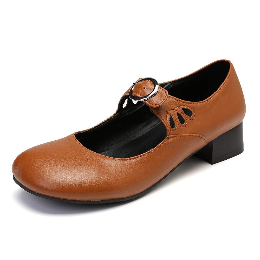 Camfosy Mocassins Cuir Femme Talons Mary Jane /à Talons Ballerines Bride Cheville Chaussures de Ville Automne /Élegantes Noires Marron Grande Taille