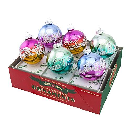 Shiny Brite Vintage Celebration Signature Flocked Ombre - Set of Six (Vintage Shiny Brite Ornaments compare prices)