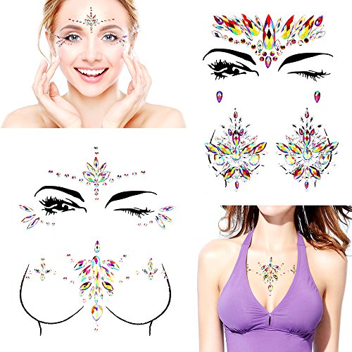 Bling 4 Sets Face Jewels Gems Stickers, Body Jewels Mermaid Face Tattoo Crystal Rhinestone Face Stickers DIY Crafts Gem for Body, Makeup, Festival, Carnival Self-adhesive