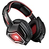 SADES Spirit Wolf 7.1 Surround Sound USB Computer Gaming Headset with Mic,Over-Ear, Noise Isolating,Breathing LED Light for PC Gamers-Black Red
