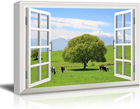 Window Peering into a Field with a Lone Tree and Cows