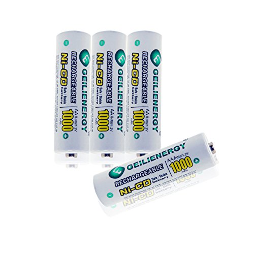 - GEILIENERGY NiCd AA 1000mAh 1.2 V Rechargeable Batteries for Solar Lights, Garden Lights, Remotes, Mice (Pack of 4)