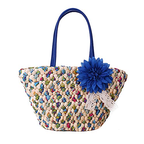 Beaded Flower Tote - Women Straw Bags Handmade Weave Beaded Corn Pellets Shaped Flower Pendant Casual Handle Colorful Handbag Satchel Tote Purse