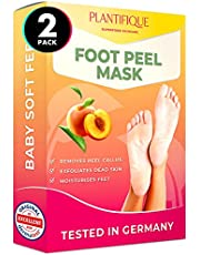 DERMATOLOGICALLY CERTIFIED EXFOLIATING Foot Peel Mask for Baby Soft Feet by Plantifique- 10X MORE EFFECTIVE for Calluses, Dead & Dry Skin - DEEP Cracked Heel Repair - 2 Pairs