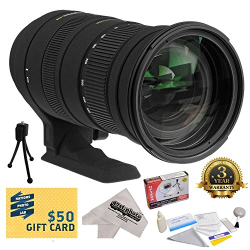 - Sigma 50-500mm f/4.5-6.3 APO DG OS HSM Lens (738306) With 3 Year Extended Lens Warranty For The Nikon D1 D1X D1H D2X D2Xs D2H D2Hs D3 D3X D3s D100 D200 D300 D300S D700 D7000 D7100 D3000 D3100 D3200 D5000 D5100 D5200 D5300 D40 D40X D50 D60 D70 D90 D80 DSLR Camera Includes - Deluxe Lens Cleaning Kit + LCD Screen Protectors + Mini Tripod + 47stphoto Microfiber Cloth + $50 Photo Print Gift Card!