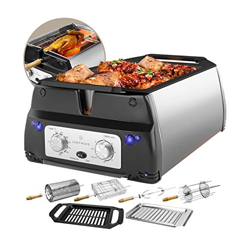 - ChefWave Smokeless Indoor Electric Grill & Rotisserie - 5 in 1 Non-Stick Tabletop Kitchen BBQ Grill with Infrared Technology - Includes Kebab & Skewer Set, Fries Basket & Fish Cage, Drip Tray