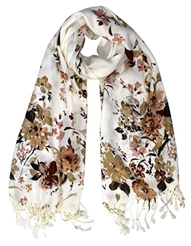 Peach Couture Luxury Silk Feel Floral Blossoms Fringe Scarf Shawl Wrap (Brown Viscose Scarf)