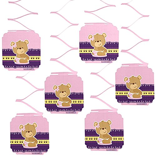 Big Dot of Happiness Girl Teddy Bear - Baby Shower or Birthday Party Hanging Decorations - 6 Count