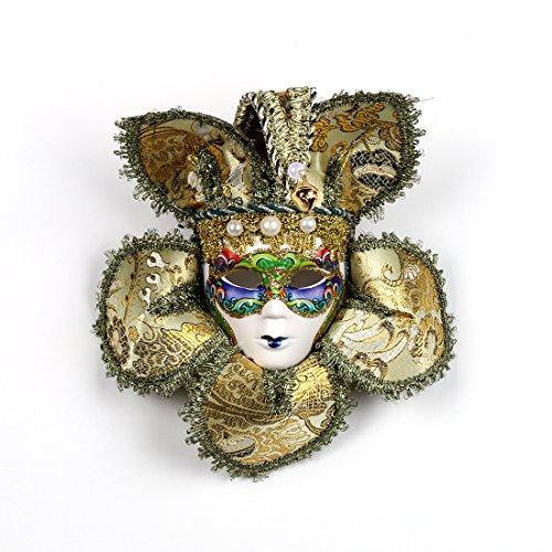 YUFENG Gold Jolly Miniature Ceramic Venetian Masquerade Mask for Party Home Decor (Carnival Italian Mask)