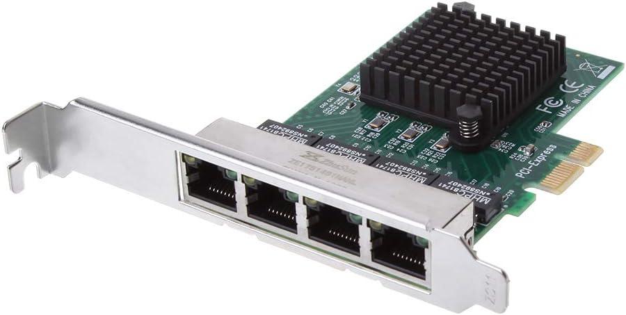 zkm111 Desktop Network Card PCIe PCI Express 10//100//1000M To 4 Port 4x Gigabit Card Ethernet Network Adapter