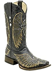 Mens Square Toe Corral Wing and Cross Inlay Boot