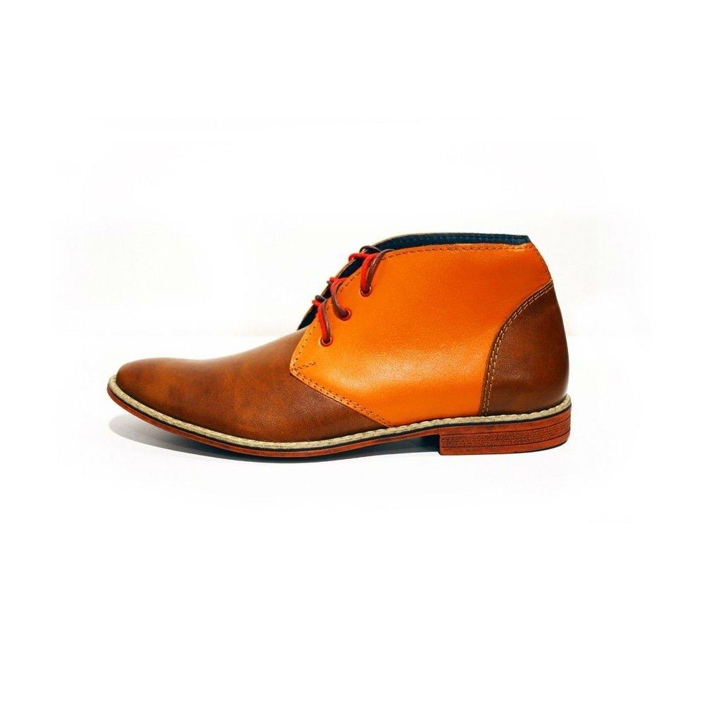 Modello Moderno - Cuero Italiano Hecho A Mano Hombre Piel Naranja Chukka Botas Botines - Cuero Cuero Suave - Encaje: Amazon.es: Zapatos y complementos