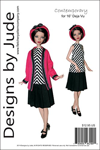 """Contemporary Printed Sewing Pattern for 16"""" Deja Vu Dolls Tonner"""