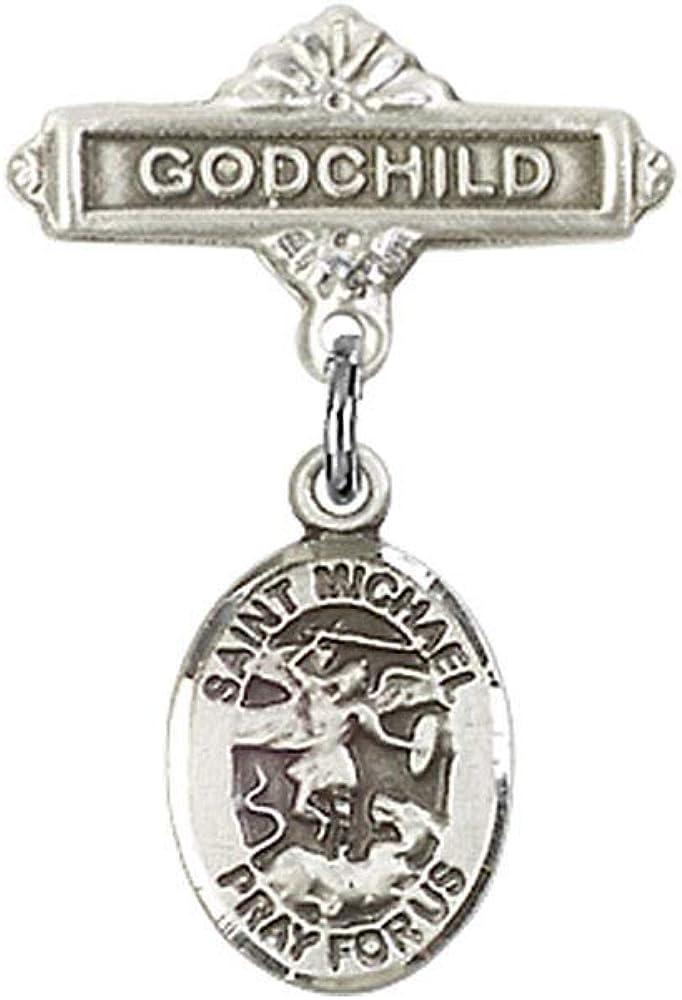DiamondJewelryNY Baby Badge with St Michael The Archangel Charm and Godchild Badge Pin