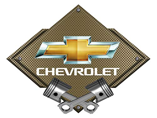 ZIC Motorsports Chevy Bowtie Crossed Pistons Metal Sign/Bronze Carbon Fiber 25