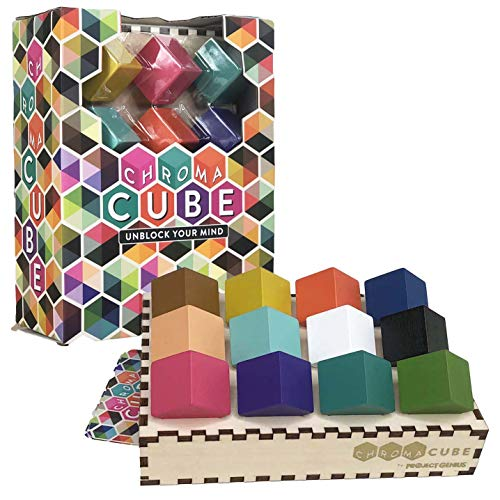 Chroma Cube Logic Game with 25 Puzzles for Adults, IQ Game, Award Winning Brain Teaser ()