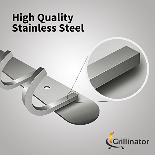 Grillinator BBQ Tool Rack - Polished Stainless Steel 6 Hook Storage for Grilling & Cooking Utensils - Easy to Install - Gas, Charcoal & Electric Grills - Indoor or Outdoor Use by Grillinator (Image #1)