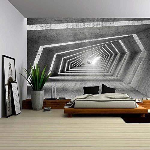 (wall26 - Abstract Illuminated Empty Bent Concrete Corridor Interior, 3D Render Illustration - Removable Wall Mural | Self-Adhesive Large Wallpaper - 100x144 inches)