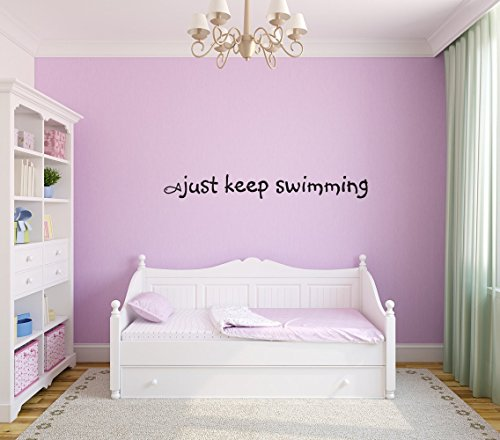 Just Keep Swimming Removable Wall Decal Sticker DIY Art Décor for Home Nursery Kids' Girl's Room Decals