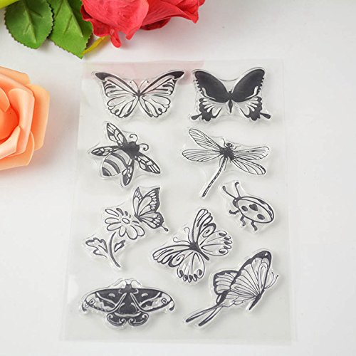 Transparent Stamp Tool - 1 Piece 4 Butterfly Transparent Clear Stamp Silicone Seals Scrapbooking Card Making Photo Album Decoration Supplies - Monogram Embroidery Stamp