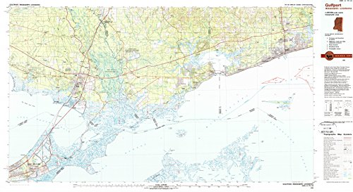 YellowMaps Gulfport MS topo map, 1:100000 Scale, 30 X 60 Minute, Historical, 1982, Updated 1983, 24.1 x 44 in - Tyvek (West Mississippi Gulfport)