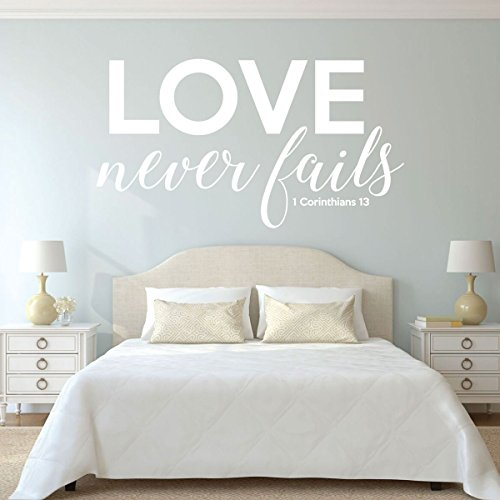 Christian Home Decor - 1 Corinthians 13 - Love Never Fails - Christian Home Decor, Master Bedroom Wall Decals, Vinyl Scripture Wall Art (Diy Halloween Fails)