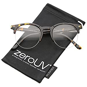 zeroUV - Retro Semi-Rimless Clear Lens Round Horn Rimmed Eyeglasses 50mm (Shiny Tortoise/Clear)
