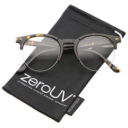 zeroUV - Retro Semi-Rimless Clear Lens Round Horn Rimmed Eyeglasses 50mm (Shiny Tortoise / - Rimless Round Frames Eyeglass