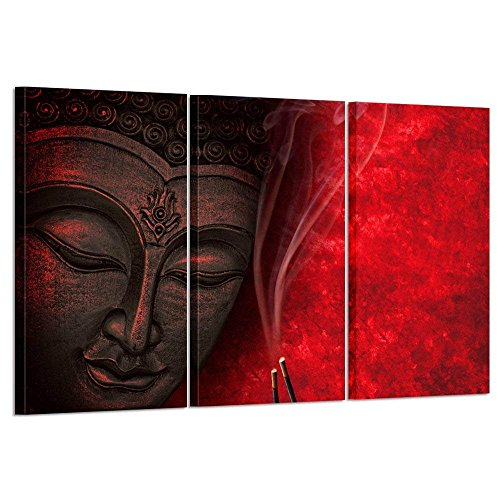 Kreative Arts Large Modern 3 Piece Stretched and Framed Giclee Canvas Prints Artwork Buddha Oil Paintings Printed on Canvas Reproduction on Canvas Wall Art Ready to Hang for Living Room