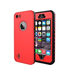 iPhone 5S Waterproof Case,Amever IP68 Waterproof, Dust Proof, Snow Proof, Shock Proof Case with Touched Transparent Screen Protector, Heavy Duty Protective Carrying Cover Case for iPhone 5/5S - Red